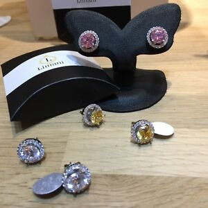 Studs earrings 925 With Hallmark with Created Diamond Fancy Colors
