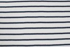 Jersey di lino bianco a righe blu STOFFA AL METRO TESSUTO A METRAGGIO