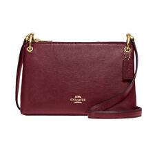 NWT COACH Mia Shoulder Bag Crossbody Classic Purse Wine Burgundy Gold F76645