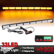 35 Inch 32 LED Amber Flashing Traffic Adviser Directional Arrow Strobe Light Bar
