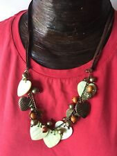 """New Mother Of Pearl Wood Metal And Leather Cord 20L"""" Heart Necklace MSRP $19.99"""