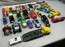 Large Lot Of 40 Various Sizes Diecast & Plastic Models Cars Trucks Minis