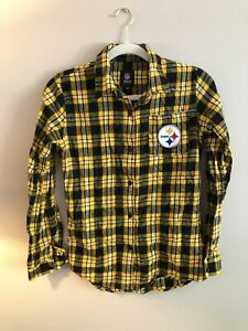 NWOT NFL Team Apparel Women's Pittsburgh Steelers Check Flannel Shirt Sz Med