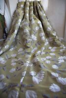 LIME FLORAL CURTAINS,66WX54D,YELLOW/OCHRE,WHITE,GREY,EYELET,LINED,PLEAT,M&S,1OF2