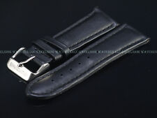 New Genuine OEM Glycine 22MM High Grade Black Leather Strap W/ Signed SS Buckle