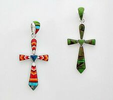 ADORABLE  CHANNEL INLAY CROSS PENDANT IN TURQUOISE/MULTICOLOR IN .925 SILVER