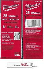 """25 Pack Milwaukee 48-00-8712 10TPI 6"""" Torch Double Duty Sawzall Recip Blades"""