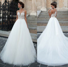 New White Ivory Tulle Wedding Dress Bridal Gown Custom Size 6 8 10 12 14 16 18 +