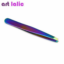 Chameleon Rainbow Angled Slanted Eyebrow Tweezers Stainless Steel Face Hair Remo
