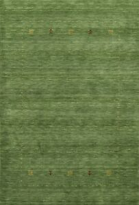 Gabbeh Bordered Modern Oriental Area Rug Hand-knotted Wool Foyer Carpet 5x7 ft