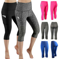 Women's High Waist Yoga Pants Pockets Gym Fitness Sports Capri Leggings Workout
