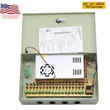 18CH Output Security Camera CCTV Power Supply Box DC 12V 20A Auto Reset Fuse