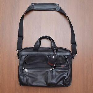 Tumi Gen 4.2 Black Leather Laptop Travel Bag
