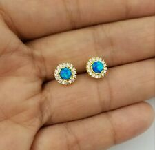 14K Yellow Gold & Sterling Silver Round Blue Opal White Sapphire Stud Earrings