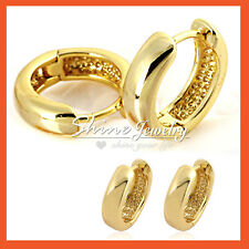 14K YELLOW GOLD FILLED SOLID MENS WOMENS KIDS SMALL PLAIN HOOP SLEEPER EARRINGS