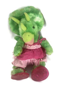 "Build A Bear Green Triceratops Dinosaur Plush Stuffed Animal BABW 18"""