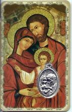 Carte médaille image pieuse plastifiée Sainte Famille Marie Joseph Jésus 8,5 cm