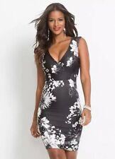 Body flirt NWT UK size 10/12 black floral stretch bodycon dress