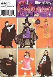 Simplicity Sewing Pattern 4411 Childs Batman Bunny Witch Clown Costumes Size 3-8