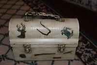 Vintage Lib Brown Lunch Box Metal Hunting Fishing Scenes Unusual Lunchbox