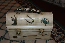 Vintage Lib Brown Lunch Box-Metal W/Hunting & Fishing Scenes-Unusual Lunchbox