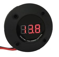 Black 3 Digit Red LED 12V Round Digital Voltmeter Car Marine RV  Audio Video US