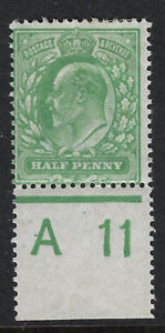 GB :ED VII 1/2d yellow- green control A 11 perf 14 PERFORATED  margins mint