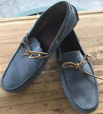 Massimo Dutti Loafers Men's 12 US Blue Leather Driving Car Shoe Moccasin 45 EUR