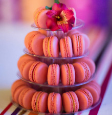 NEW 4-TIER FRENCH MACARON TOWER WITH CARRYING CASE SET, FOOD-SAFE CLEAR PLASTIC.