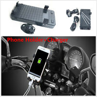Motorcycle MTB Handlebar Mount Holder +USB Charger For Cell Phone GPS Universal