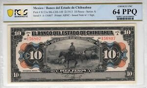 Mexico 1913 10 Pesos Chihuahua PCGS Banknote Certified Choice UNC 64 PPQ S133a