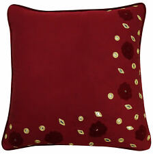 Floral Embroidered Maroon Pillow Cover Throw Pillows Cotton Cushion Case