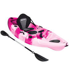 KAYAK SIT ON TOP FISHING SEA RIVER KAYAKS BEST DELUXE SEAT & PADDLE SET - PINK