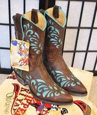 Old Gringo Cowboy Boots Brown Turquoise Sz 7.5 Runs Small 6.5 - 7 Never worn