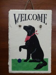 """Hand Painted Slate Welcome Sign Black Lab With Red Bandana Very Nice 8 x 12"""""""