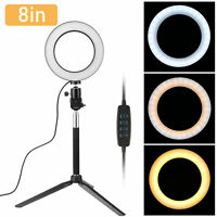 "8"" 3-Light Color Dimmable LED Ring Light with Tripod Stand for Makeup Camera"