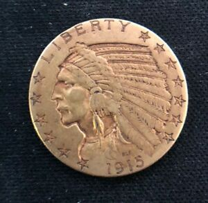 US Mint 1915-S $5 Gold Half Eagle Indian Head, Better Date, Low Mintage Coin