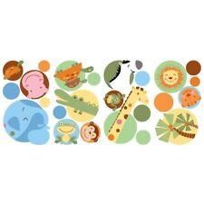 JUNGLE ANIMALS POLKA DOTS 24 BiG WALL DECALS Baby Nursery Stickers Animal Decor
