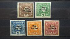 Polen 1918 / Lokalausgabe / TARNOW – Type III b/  5 Briefmarken mit Sonder Stem