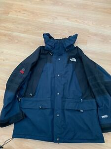 Large Mens The North Face Summit Series Gore-Tex Rain Jacket Coat Black Blue 99p