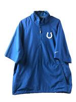 Nike Indianapolis Colts Windbreaker Jacket Mens Large Blue Short Sleeve1/2 Zip