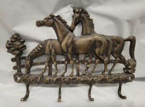 Vintage Solid Cast Brass bronze Horse Equestrian Wall 4 Hook Key Holder