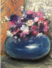 Flowers, Bachelor Buttons, Floral, Bouquet, Still Life, Spring,  ACEO  by Vicki