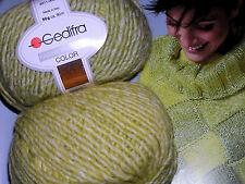 600g Fashion Trend Color GEDIFRA Schachenmayr WOLLE Gelb Ecrue Grün MERINO NATUR