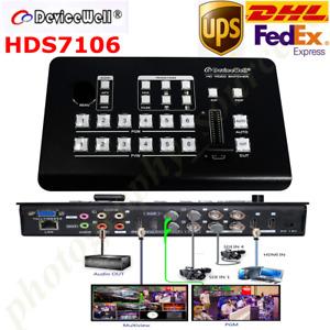 DeviceWell HDS7106 Mini Switcher 4 SDI + 2 HDMI inputs Six Video Signals Newest