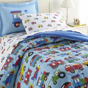New Olive Kids Quilted Comforter Set Trains Planes Trucks Blanket Set Full