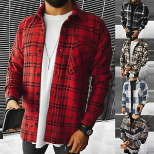 Mens Casual Check Plaid Shirt Jacket Shacket Top Coat Tunic Oversized Outwear A+