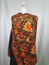 Kashmiri shawl embroidery floral embroidered cashmere wool scarf women's black