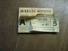 MIREILLE MATHIEU BILLET DE SPECTACLE BELGIQUE 1970 1
