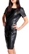 Women Dress Black Real Leather Evening Cocktail Ladies Dress WD029